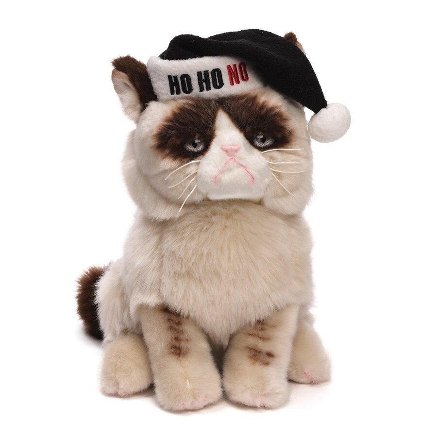 grumpy cat with santa hat plush 23cm licensed by gund. Black Bedroom Furniture Sets. Home Design Ideas
