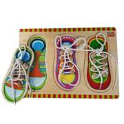 Fun Factory Wooden Educational Toys - Puzzle Shoe Lace (Tying Knot Lacing)