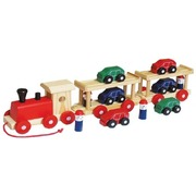 Fun Factory Wooden Pull Along Toys Car Transporter Semi Trailer Train W/ 6 CARS /4 PEOPLE