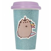 Pusheen The Cat Glitter Ceramic Travel Mug Aqua - Licenced