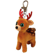 Ty Beanie Boos Clip ons - Xmas Tinsel the Brown Reindeer Plush