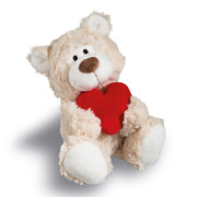 Nici Valentines Love Bear Beige With Heart 22cm Plush