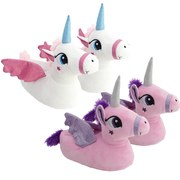 Unicorn Plush Slippers - Choose Pink or White