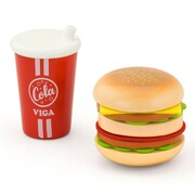 Wooden Pretend Toys Kitchen Food Hamburger and Cola Set