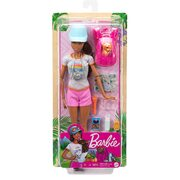 Barbie Hiking Doll, Brunette with Puppy & 9 Accessories,