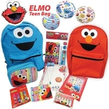 ELMO Showbag - Reversible Elmo & Cookie Monster Backpack, Stationery Set