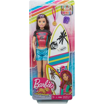 Barbie Dreamhouse Adventure Skipper Doll with surfboard